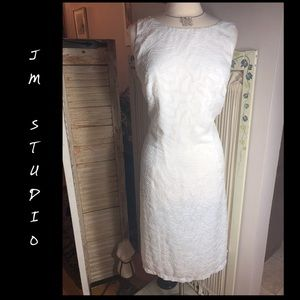 SZ 16-JM STUDIO WHITE/BLUSH BEIGE SLEEVELESS DRESS